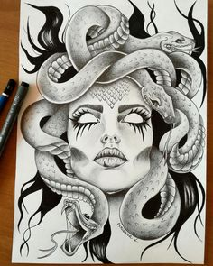 Résultat d'image pour tatuagem de medusa You are in the right place about Tattoo Ideas Tattoo Sketches, Tattoo Drawings, Body Art Tattoos, Art Sketches, Art Drawings, Key Tattoos, Foot Tattoos, Tattoo Ink, Jellyfish Painting