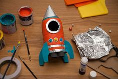 Feb Crafts for your preschool classroom. Fun craft projects for kids. Space Crafts For Kids, Fun Arts And Crafts, Craft Projects For Kids, Diy For Kids, Fun Crafts, Activities For Kids, Preschool Rocket, Rocket Craft, Diy Rocket