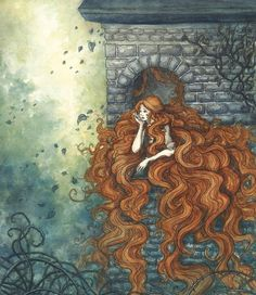 Illustration art Rapunzel fairy tales Grimm'sYou can find Grimm fairy tales and more on our website. Art And Illustration, Botanical Illustration, Character Illustration, Fairy Tale Illustrations, Website Illustration, Fantasy Kunst, Fantasy Art, Elfen Fantasy, Armadura Medieval