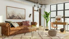 Industrial Living Room Design: 14 Ways to Get the Loft Look Industrial Interior Design, Industrial Living, Industrial Interiors, Industrial Style, Orange Leather Sofas, Tufted Leather Sofa, Concrete Coffee Table, Office Nook, Barn Wood Frames