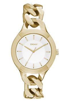 Women's DKNY 'Chambers' Round Chain Bracelet Watch