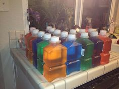 Make your own targets for shooting! Fill empty bottles with colored water.