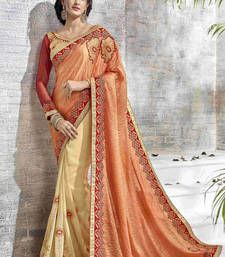 Buy Beige embroidered shimmer saree with blouse shimmer-saree online