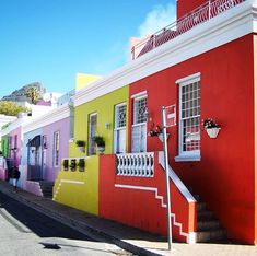 The Bo-Kaap is an area of Cape Town South Africa formerly known as the Malay Quarter. Translated from Afrikaans it means Above the Cape. It is known for its brightly coloured homes and cobble stoned streets. The Bo, Stone Street, Cape Town South Africa, Afrikaans, Anna, Homes, Mansions, House Styles, City