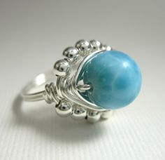 Wire Wrapped Ring Larimar and Sterling Silver by holmescraft, $44.00