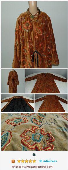 d456bee9cf Vintage 90s Velvet Robe Embroidered robe Robe lining Indigo moon Brown robe  Winter robe Warm robe