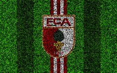 Download wallpapers FC Augsburg, 4k, German football club, football lawn, logo, emblem, grass texture, Bundesliga, Augsburg, Germany, football