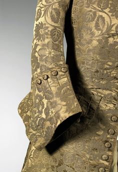 Gorgeous gold Frock coat sleeve detail, England, 1740s silk, wood, wool, linen 102.0 cm (centre back), 65.0 cm (sleeve length) National Gallery of Victoria, Melbourne