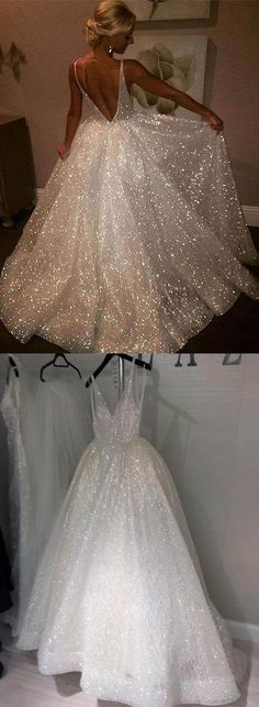 White V-Neck Sequins Long Prom Dresses Backless Evening Dresses A-Line Formal Dresses,HS777  #promdress #fashion #shopping #dresses #eveningdresses #2018prom