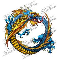medium ouroboros dragon | Final Color #115540 | CreateMyTattoo.com