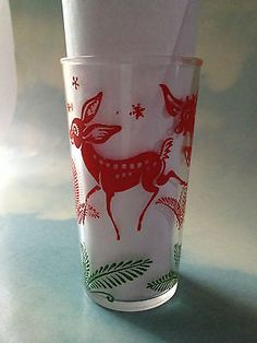 Hazel Atlas Deer 8 Oz Drinking Juice Glass Possibly for Christmas Marked EC