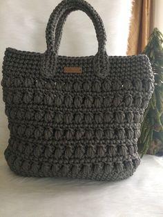 Glossy Iron Grey Crochet Bag/Crochet Tote by ArtimaDecor on Etsy