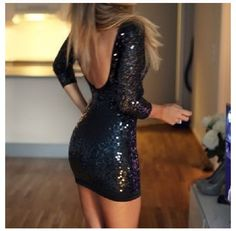 Black Sequin Party Dress- For the woman who knows how to handle her curves