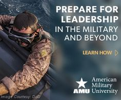 #AmericanMilitaryUniversity ...... Educating those who serve™. ...... Our military roots date back to 1991 when a Marine Corps officer founded AMU with one mission – to educate those whose serve. Today, with more than 300 veterans on our faculty and staff, we stand ready to help you take charge of your education.  Photo courtesy of the U.S. Department of Defense......   http://www.amu.apus.edu/lp5/military-and-veterans.htm?gclid=CJ_HoYTRicECFQERaQodaUsAbw