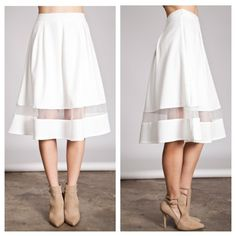 """HPWhite skirt (S M L) White skirt. Brand new without tags. Fully lined with a zipper closure in the back. 65% cotton/ 35% polyester SMALL: 22"""" long/ 26"""" waistband MEDIUM: 23"""" long/ 29"""" waistband LARGE: 23"""" long/ 32"""" waistband PLEASE do not purchase this listing. Price is firm unless bundled. No tradesAvailability- S•M•L • 2•2•2 HP by fababscloset Boutique Skirts A-Line or Full"""