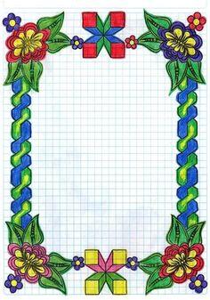 Page Borders Design, Border Design, Pattern Design, Bullet Journal School, Bullet Journal Spread, Boarders And Frames, Graph Paper Art, Notebook Art, Sketches Tutorial