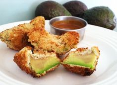 Fried Avocado with a Tangy Honey Mustard Dipping Sauce   #paleo #glutenfree