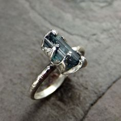 Raw Blue Tourmaline Ring Rough Recycled Sterling by byAngeline, $160.00
