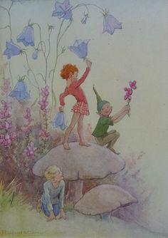Margaret Tarrant Vintage Fairy Print Harebells Fairies Mounted 1936 Childs Nursery Ready to Frame Antique Prints, Vintage Prints, Some Enchanted Evening, Old Cards, Vintage Fairies, Fairytale Art, Aesthetic Art, Fairy Tales, Nursery