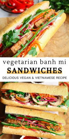 These vegetarian banh mi sandwiches are delicious and healthy! It's a nice and vibrant twist from the classic Vietnamese sandwiches. We made our banh mi using crispy tofu and marinated mushrooms, while filling it with delicious pickled vegetables and a vegan mayo. It's fresh, filling, flavorful, and a super easy to make meal. If you're looking for a quick lunch idea or maybe a snack for the family, you'll love this recipe. It's one of my favorites. Enjoy! Easy Vegan Lunch, Vegan Meal Prep, Vegetarian Recipes Easy, Delicious Vegan Recipes, Lunch Recipes, Vegan Potluck, Dinner Recipes, Healthy Recipes, Wrap Recipes