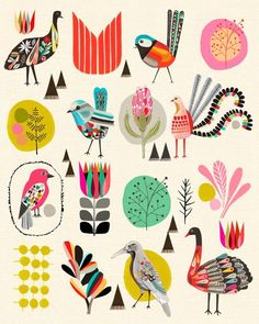 Folk art style birds of Australia by Kristina Sostarko + Jason Odd. Folk Art, Creative, Art Show, Illustration Design, Artwork, Bird Illustration, Art Journal, Prints, Bird Art