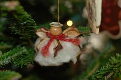 cotton boll angel ornament | Cotton boll angel. I don't remember where this one came from, but I do ...