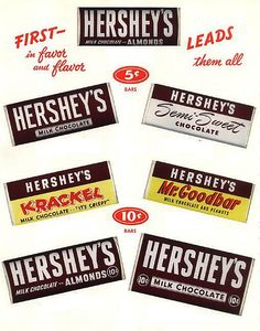A great 1950s ad for Hershey's chocolate bars that shows a selection of the products the brand was most famous for at the time.