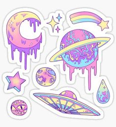 Stickers Pastel Galaxy Sticker<br> Stickers featuring millions of original designs created by independent artists. Decorate your lapto. Stickers Cool, Stickers Kawaii, Tumblr Stickers, Laptop Stickers, Pastel Galaxy, Galaxy Art, Journal Stickers, Planner Stickers, Kawaii Drawings