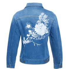 Alice Archer Embroidered Denim Jacket ($775) ❤ liked on Polyvore featuring outerwear, jackets, denim jacket, floral embroidered jacket, blue jackets, embroidered jacket and flower print jacket