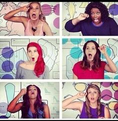 Putting on mascara! Hahaha Girl Code (: my favorite girl is the blonde top left. She is hysterical.