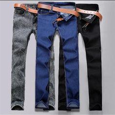 8bc5fd30ef Male Fashion Designer Brand Elastic Straight Jeans 2017 New Men Mid Pants  Slim Skinny Men Jeans