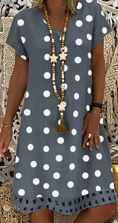 Women V-Neck Short Sleeve Hollow Polka Dot Summer Dress - Hot Sale!Women V-Neck Short Sleeve Hollow Polka Dot Summer Dress Source by - Sewing Summer Dresses, Polka Dot Summer Dresses, Casual Summer Dresses, Dress Casual, Dress Summer, Casual Ootd, Summer Outfits, Summer Fashions, Classy Casual