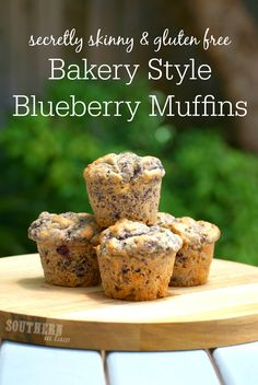 These Healthy Bakery Style Blueberry Muffins are THE BEST blueberry muffins you will ever make Gluten Free Bakery, Gluten Free Muffins, Gluten Free Treats, Healthy Muffins, Gluten Free Desserts, Dessert Recipes, Healthy Desserts, Delicious Desserts, Bakery Style Blueberry Muffins Recipe