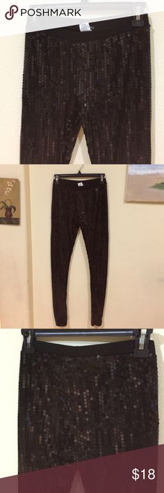 Black sequin leggings Gently worn ., says size S but fit XS, no stretch Pants Leggings