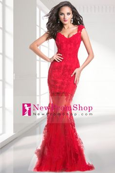 Prom Dresses Mermaid/Trumpet Sleeveless Floor Length Tulle Zipper Up Back With Applique $199.99 NPSP9KCC75E - NewPromShop.com