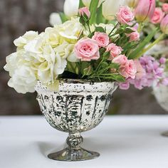 Gorgeous Baleri mercury glass compote bowl in silver gold. Create beautiful floral arrangements and centerpiece displays with this lovely silver gold glass bowl that is perfect for complementing your