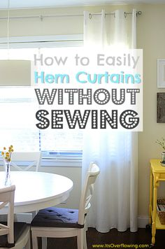 Measure how much to hem while the curtain is hanging (don't pull too tightly when measuring).    Pull your ironing board over to the window and measure the portion to remove using your ironing board as a craft table.    Use starch to crease along the 'to be hemmed' portion with your iron (while they're still hanging).    Iron the adhesive strip along the fold (yep, still hanging)