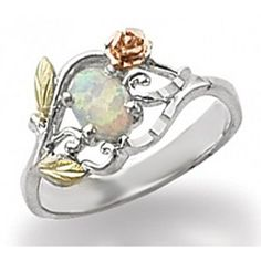 Black Hills Gold Sterling Silver and 10K Gold Ring with Opal - MyBlackHillsGold.com