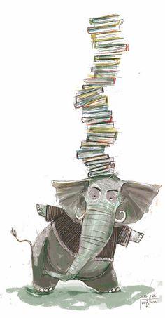 juanbjuan children illustration: elephant's library