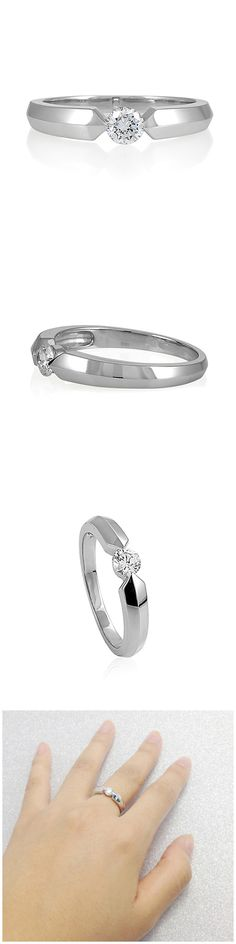 Sterling Silver Round CZ Solitaire Wedding Ring