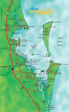 Moreton Bay Australia Beach Map - close to home for me!