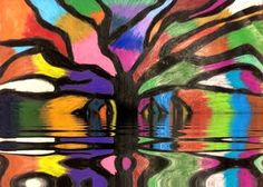 Banyon tree with color lake app for water reflection