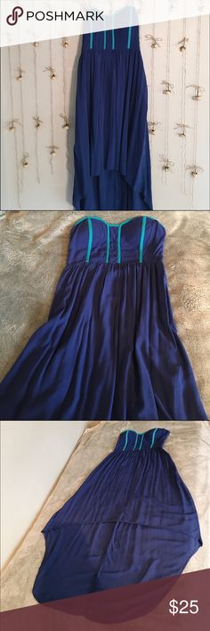 Royal Blue Hi/Low Maxi Dress Xhilaration Adorable Mermaid Hi/Low Royal Blue With Turquoise Trim Maxi Dress. Can be worn strapless or with straps! Flirty Sweetheart Neckline Worn Only Once!  Make me an offer ☺ Xhilaration Dresses High Low