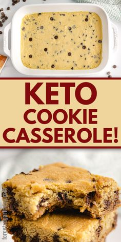 Say hello to this amazing keto casserole unlike any other! This is a keto COOKIE casserole, making delightful keto bars (keto cookie bars) to satisfy your keto cookies cravings. Serve as a keto desser Desserts Keto, Desserts Sains, Sugar Free Desserts, Keto Snacks, Snack Recipes, Dessert Recipes, Keto Dessert Easy, Recipes Dinner, Cooking Recipes
