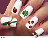 Ladybug, clover nail decal, Ladybird nail art, 60 nail decals, Nail Art design, Water Slide nail Decals,