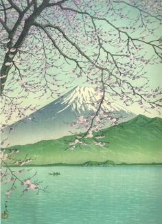 """ Hasui Kawase (川瀬 巴水 Kawase Hasui, May 1883 – Nov was a Japanese artist. He was one of the most prominent print designers of the shin-hanga (""new prints"") movement. Nishi Izu, Kisho no Fuji / towards the end of the year, 1937 Japanese Painting, Japanese Prints, Landscape Art, Landscape Paintings, Landscape Prints, Monte Fuji, Gravure Illustration, Art Occidental, Nature"