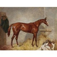 Portrait of Blair Atholl a bay racehorse in a loose box by Harry Hall