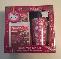 Hello Kitty Travel Mug Gift Set Factory Sealed W/ Nestle Hot Cocoa Mix