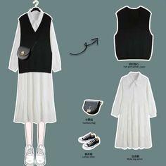 Korean Girl Fashion, Korean Street Fashion, Korean Fashion Trends, Kpop Fashion Outfits, Korean Outfits, Modest Fashion, Cute Casual Outfits, Aesthetic Clothes, Ootd
