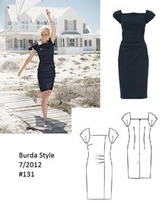 Burda Style Puff Sleeve Dress 7/2012 #131